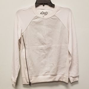 Aiko White Zipper Eyelet Top Size XS